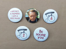 "The Prisoner 5 Button Set #2 #6 Bicycle Patrick McGoohan Not a # Free Man 1.25"""