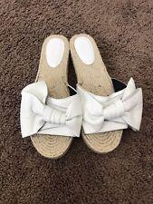 Rebecca Minkoff Giana Bow Slides White Leather Flats Sandals Size 10 NEW