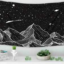 Mountain Moon Tapestry Wall Hanging Star Black and White Art Tapestry Home Decor