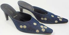ESCADA Vintage Shoes 7 Mules Blue Denim Jeans Embroidered Daisy Flower HapaChico