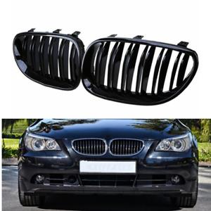 AvA Grille Grill for BMW 5 Series M5 E60 E61 Sedan Wagon 525i 528i 530i 535i 540i 545i 550i 2004-2009 2Pcs Gloss Black-Single Slats
