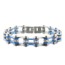 Silver Blue New Hot Women Mens Motorcycle Bike Chain Stainless Steel With Top CZ