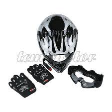 Large DOT Full Face ATV Dirt Bike Motocross Helmet w/Goggles & Gloves for Youth