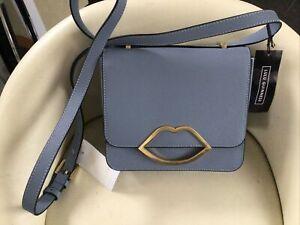 Gorgeous Lulu Guinness Light Blue Mist Leather Marcie Messenger Bag New/Dustbag