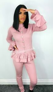 Frill Sleeve Gold Button Lounge Set