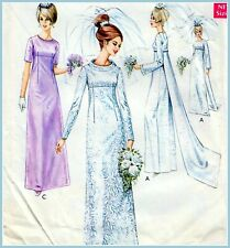 "Vintage 60s WEDDING & EVENING DRESS Sewing Pattern Bust 36"" 92 cm RETRO Cosplay"