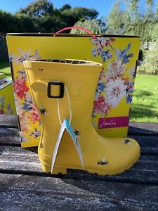 Joules size 3 Molly Gold / Yellow Bee Molly Mid Height Wellies Brand New & Box