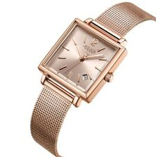 JULIUS Women Stainless Steel Mesh Bracelet Watch Date Display Square Quartz