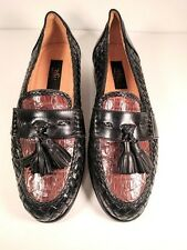 ZELLI Rare Genuine Crocodile Brown & Black Leather Woven Loafer Shoes (US 7.5 M)