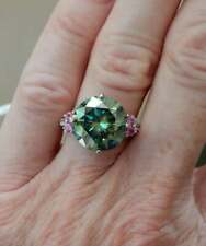 Moissanite 3.50 Tcw Engagement Ring 925 Sterling Silver Greenish Blue Round