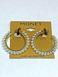 Monet Pearl Tower Earrings Hoop Pierced Post NWT $20