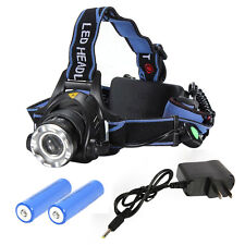 New 6000LM LED Focus Headlight Head Lamp Zoom + 2Pcs Batteries + Charger