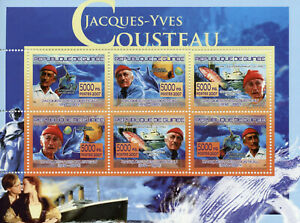 Guinea Famous People Stamps 2007 MNH Jacques-Yves Cousteau Fish Dolphins 6v M/S