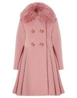 Girls Monsoon Pink Maisie Fur Collar Princess Dress Winter Coat Age 3 To 13 Year