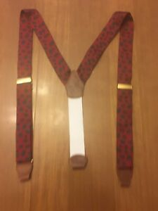 Brooks Brothers Burgundy Silk Leather Suspenders Adjustable Sheep Made In USA