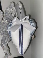 'Laura Ashley' Blue Heacham Stripe Fabric Cushioned Hanging Heart