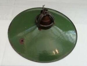 Lampenschirm Emaille antik grün weiß Industrie Fassung alt antik gebraucht
