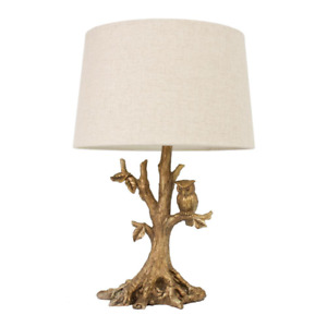Gold Table Lamp Charming Linen Shade Owl 27.75 in. Hardware Plug in