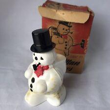 Vintage Snow Man Glows Hard Plastic Light Up Snowman Pipe 1950' Original Box