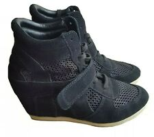 Ash Hi-Top Wedge Trainers Black Suede Size 38