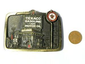 Vintage USA Advertising Pictorial Brass Belt Buckle Texaco Gasoline & Motor Oil