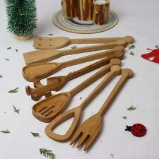 Küchenhelfer Koch Utensilien Besteck Holz Pfannenwender Spaghetti Löffel Gabel