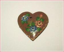 CRAFTS Hand Painted Brown Floral Wooden Heart Pendant Flat Back ~ Made in Russia