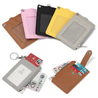 Leather Business ID Card Credit Badge Holder Coin Purse Wallet Bus Cards Cover`