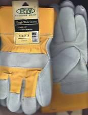 RuggedWear Men Color Cotton-Suede Leather Wrist Work Glove Safety Cuff Unline L