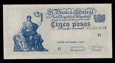 ARGENTINA 5 PESOS ( 1951-59 )   PICK #  264d  AU-UNC.