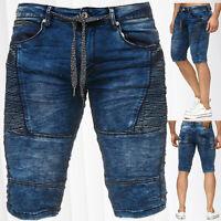 Sweat Jeans Shorts pour Hommes Jeans de jogging lavé délavé Bermuda Biker Denim