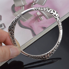Charm Women Sculpture 925 Sterling Silver Plated Cuff Bangle Bracelet Jewelry