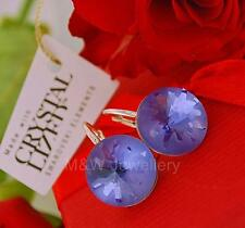 925 STERLING SILVER EARRINGS CRYSTALS FROM SWAROVSKI® ROUND SEA URCHIN TANZANITE