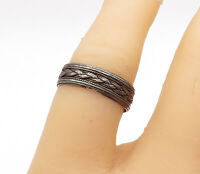 925 Sterling Silver - Vintage Dark Tone Braided Detail Band Ring Sz 6.5 - R15239