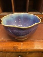 More details for chinese junware style pottery bowl with frilled edge splash purple porcelain
