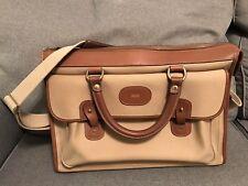 Ghurka Satchel No. 17 Vintage Twill and Chestnut Leather Briefcase Messenger Bag