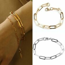 Fashion Womens Mens Gold Silver Chain Bracelet Simple Geometry Hollow Bangle NEW