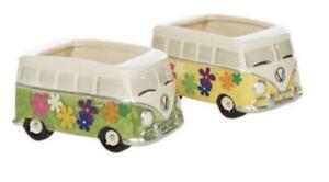 Hippie Van Ceramic Planters Set Of Two Brand New In Box