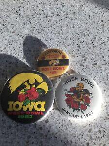 Iowa Hawkeyes Homecoming Football Rose Bowl 1982 Lot 3 Badges /Pin Vintage Rare