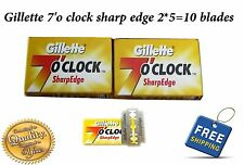 2 X 5=10 Gillette 7 O'Clock Shaving Razor Stainless steel safety Blades barber