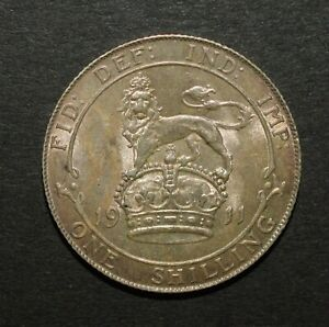 1911 SHILLING. GEORGE V BRITISH SILVER COIN.