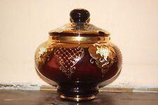 Vintage Bohemian Czech Purple Glass Heavy Gold Punch Bowl *DAMAGED*