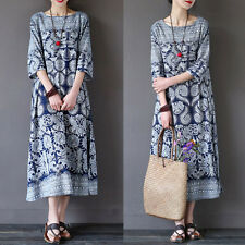 Zanzea AU10-24 Women Summer Plus Size Loose Cotton Floral Print Long Maxi Dress