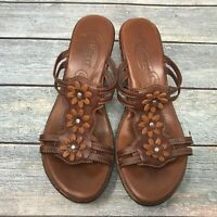 Born Leather Wedge Vintage Slingback Sandals Wedges Flower Open Toe Brown Size 9