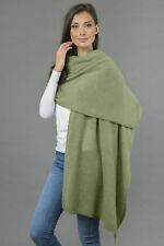 Sage Green Cashmere Wrap Travelwrap Scarf Shawl 2ply Knitted MADE IN ITALY