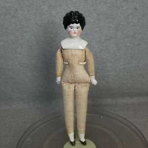 """11"""" antique German China Shoulder Head Doll with cloth body 1890s to dress"""