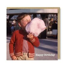 Unique Vintage Nostalgia Retro 1960s Birthday Card, Cute Candy Floss Boy, Honovi