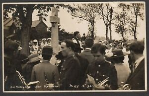 Postcard Northbourne nr Didcot Oxfordshire war memorial unveiling 1921 RP