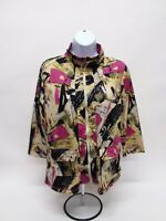Women's Large Onque Casuals 3/4 Sleeve Zip-Up T-Shirt - 100% Polyester