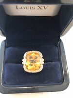 Gold Citrine Cushion Cut 12.41 Carats Cocktail Ring SZ 5